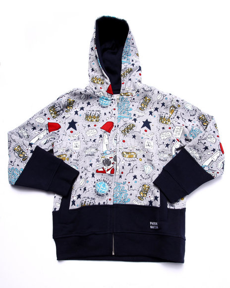 Parish - Boys Grey Young Rulers All Over Print Hoody (8-20) - $45.99