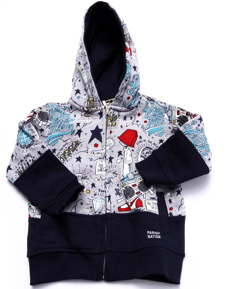 Parish - Boys Grey Young Rulers All Over Print Hoody (2T-4T) - $26.99