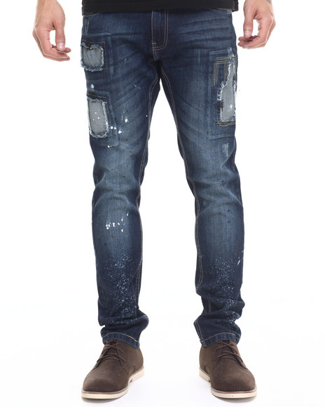 Buyers Picks - Men Dark Wash Zig - Zag Stitch Destructed Denim Jeans