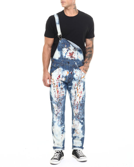 Buyers Picks - Men Medium Wash Splatter / Acid Denim Overalls