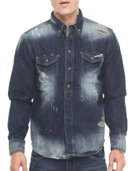 Buyers Picks - Men Dark Wash Buffalo Check L/S Denim Button - Down
