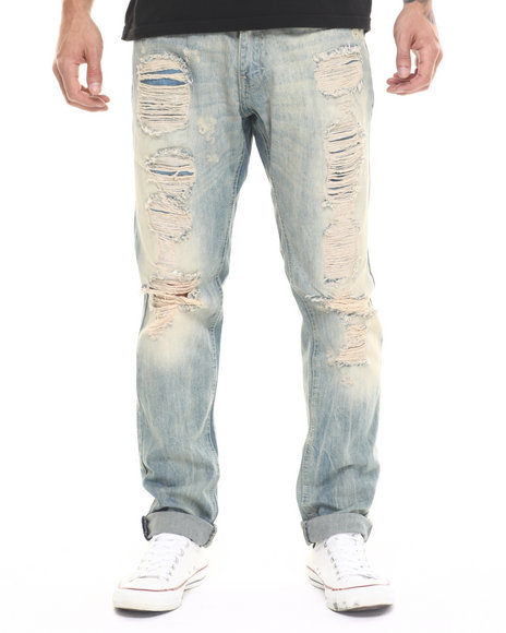 Buyers Picks - Men Light Wash Vintage Ripped Tapered Slim - Straight Denim Jeans