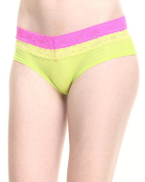 Drj Lingerie Shoppe - Women Neon Green,Pink,Yellow Layered Lace Trim Hipster