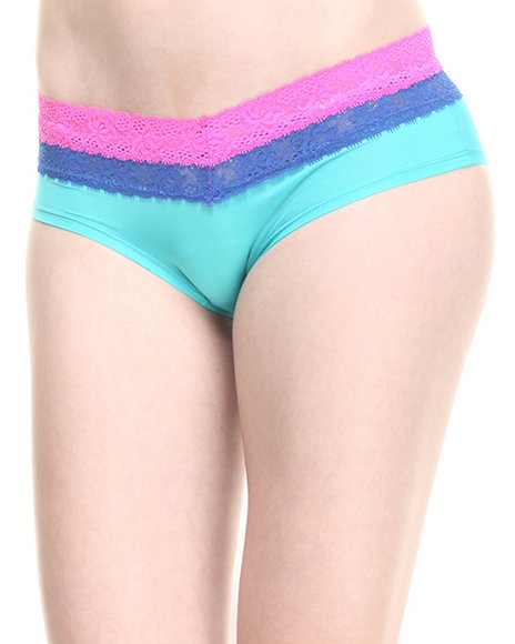 Drj Lingerie Shoppe - Women Teal Layered Lace Trim Hipster - $3.99