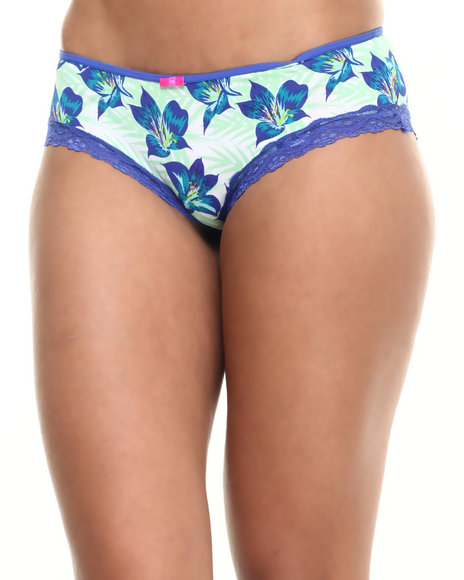 Drj Lingerie Shoppe - Women Blue Placement Tropical Print Hipster - $3.99