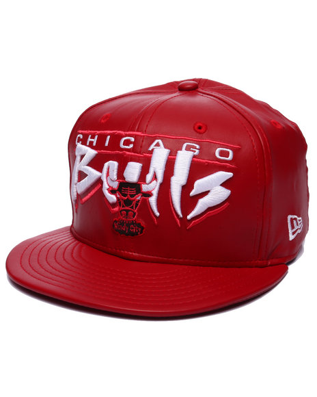 New Era - Men Red Chicago Bulls Faux Leather Custom Snapback Hat - $28.00
