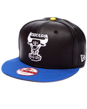 New Era - Chicago Bulls Black N Blue Pebbled faux leather Custom Snapback hat