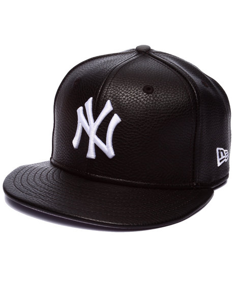 New Era - Men Black New York Yankees Pebbled Faux Leather Custom Fitted Hat - $36.00