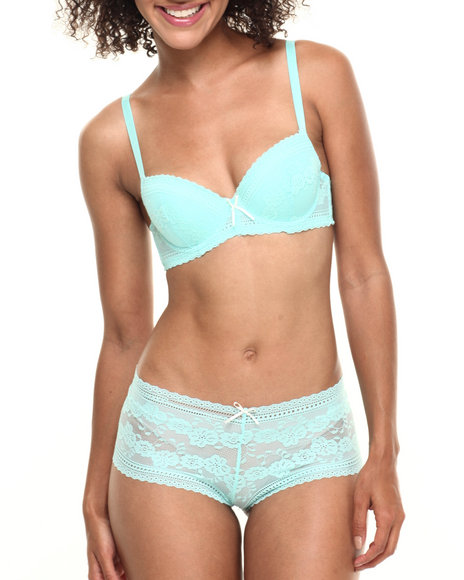 Drj Lingerie Shoppe - Women Green In Bloom Lace Bra/Short Set - $9.99