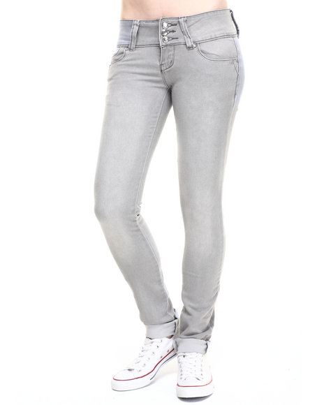 Basic Essentials - Women Light Grey Stretch Denim Skinny Jean