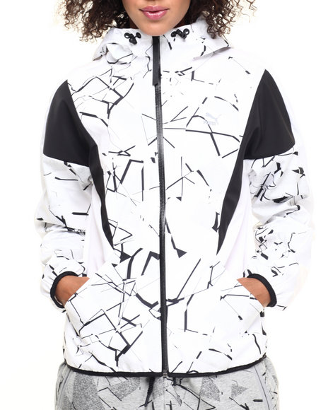 Puma - Women White Printed Windbreaker