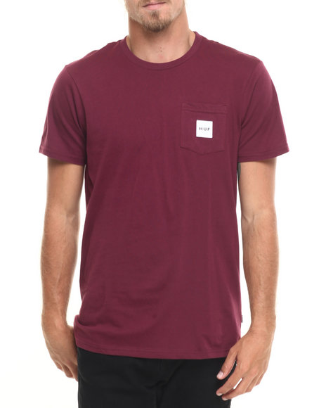 Huf - Men Maroon Box Logo Pocket Tee