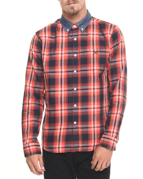 Huf - Men Red Classic Plaid L/S Button-Down