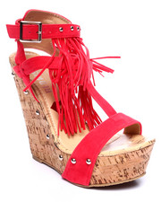 Wedges - Mystique Strappy Fringe Wedge Sandal