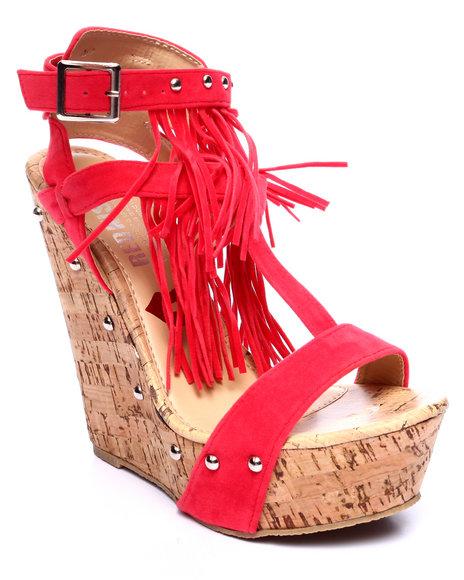 Fashion Lab - Women Red Mystique Strappy Fringe Wedge Sandal
