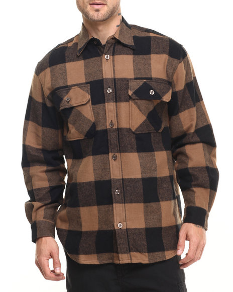 Rothco - Men Brown Rothco Extra Heavyweight Buffalo Plaid Flannel Shirts
