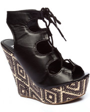 Wedges - Legendary Lace Up Open Toe Wedge