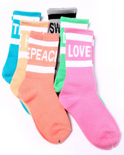 Girls - Words Washed Neon Tube 6Pk Crew Socks (Girls 6-8 1/2)