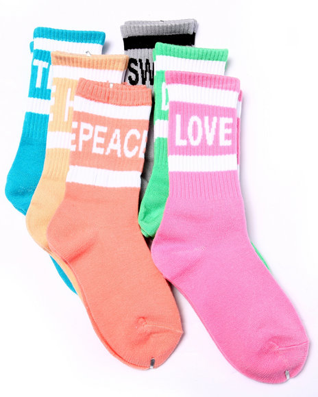 Drj Sock Shop Girls Words Washed Neon Tube 6Pk Crew Socks (Girls 6-8 Multi 6-8.5 - $2.99