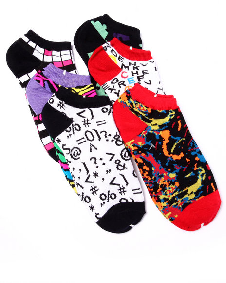 Drj Sock Shop Women Puzzle Prints 6Pk No Show Socks Multi 9-11 - $5.99