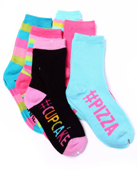 Drj Sock Shop Girls Hashtag Foods 6Pk Crew Socks (Girls 6-8 1/2) Multi 6-8.5 - $3.99