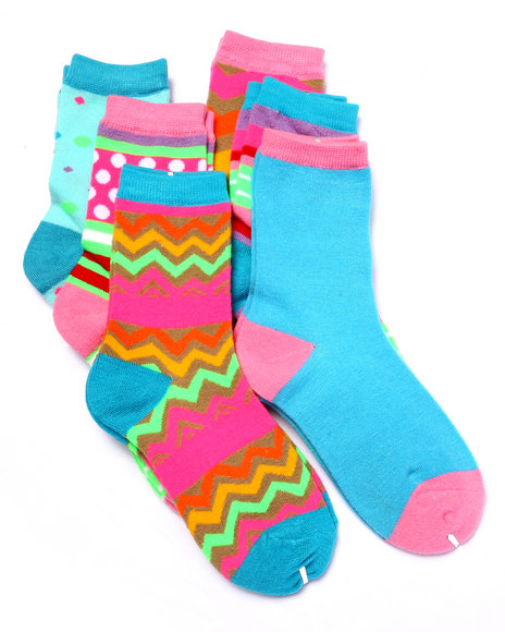 Drj Sock Shop Girls Water Neon Graphic Printed 6Pk Crew Socks (Girls Multi 6-8.5 - $1.99