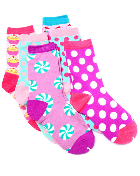 Drj Sock Shop Girls Candy Machine 6Pk Crew Socks  (Girls 6-8 1/2) Blue 6-8.5 - $1.99