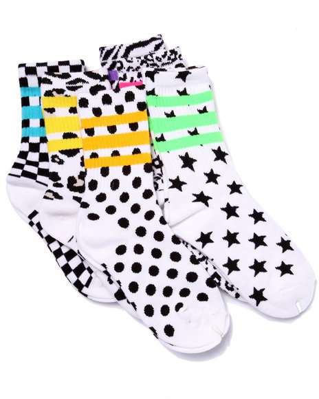 Drj Sock Shop Girls Geo Print Tube 6Pk Crew Socks (Girls 6-8 1/2) Black 6-8.5 - $2.99