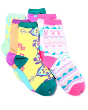 Girls - Washed Prints 6Pk Crew Socks (Girls 6-8 1/2)