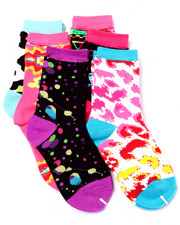 Girls - Neon Ravers Print 6Pk High Crew Socks (Girls 6-8 1/2)