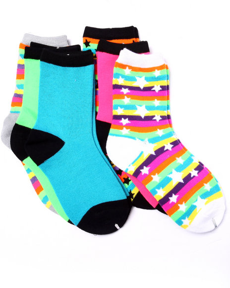 Drj Sock Shop - Girls Multi Bright Stars/Stripes Print 6Pk Crew Socks (Girls 6-8 1/2) - $1.99