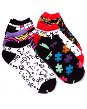 Girls - Puzzle Prints 6Pk No Show Socks (Girls 6-8 1/2)