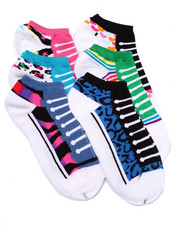 Women - Lace Up Tennis Print 6Pk No Show Socks