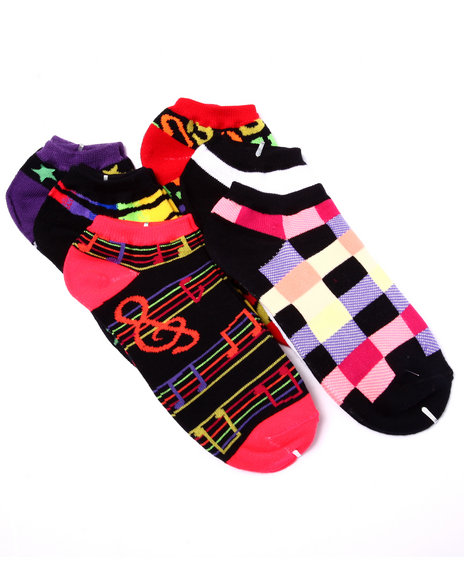 Drj Sock Shop Women Neon Expressions 6Pk No Show Socks Black 9-11 - $4.99