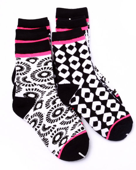 Drj Sock Shop Girls Conversational Prints 6Pk Crew Socks (Girls 6-8 Black 6-8 - $2.99