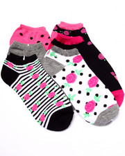 Women - Rose Buds Picot Trim 6Pk No Show Socks