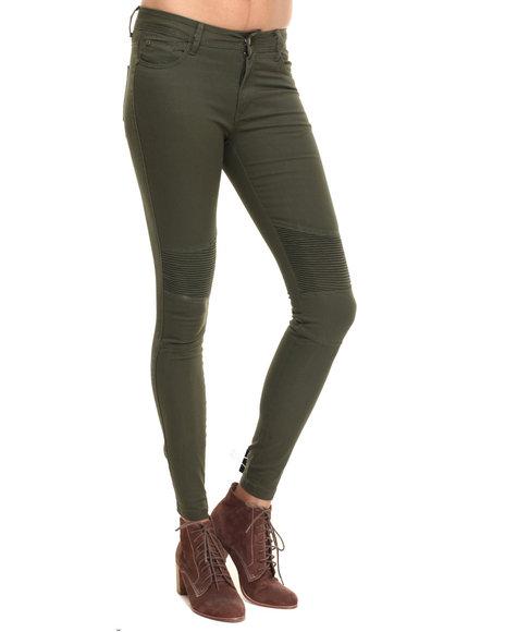 Soho Babe - Women Olive Moto Twill Skinny Pant