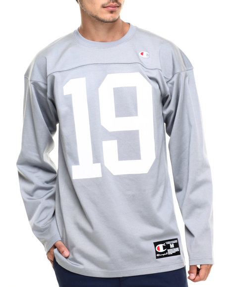Champion - Men Grey Champion '19' Football Jersey - $30.99