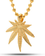 Men - 14K Gold Marijuana Leaf Necklace