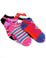 Girls - Tribal Art Print 6Pk No Show Socks (Girls 6-8 1/2)