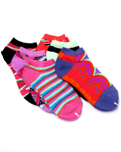 Drj Sock Shop Girls Tribal Art Print 6Pk No Show Socks (Girls 6-8 1/2) Multi 6-8.5 - $1.99