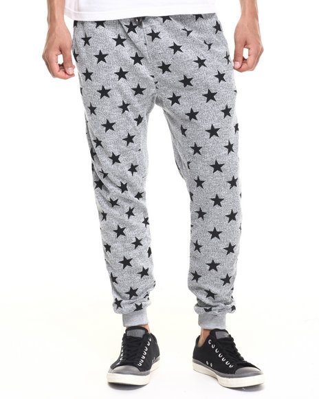 Buyers Picks - Men Grey All Over Star Jogger