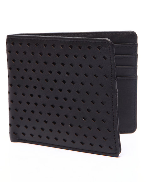 Diamond Supply Co Men Perforated Leather Bi-Fold Wallet Black