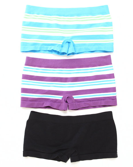 Drj Lingerie Shoppe - Women Multi Jacquard Stripe 3Pk Seamless Shorts - $7.99