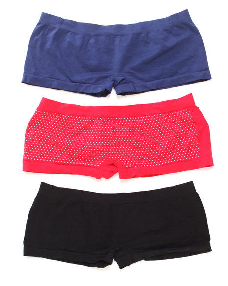 Drj Lingerie Shoppe - Women Black,Navy,Red Dot Dot World 3Pk Seamless Shorts (Plus)