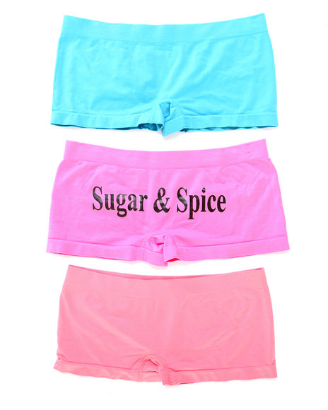 Drj Lingerie Shoppe - Women Blue,Coral,Pink Sugar & Spice 3Pk Seamless Shorts