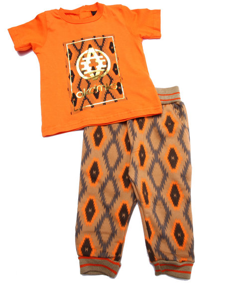 Akademiks - Boys Orange 2 Pc Set - Aztec Pocket Tee & Joggers (Infant)
