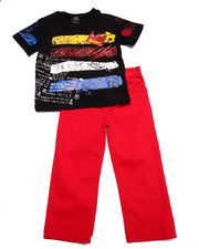 Boys - 2 PC SET - KING TEE & TWILL PANTS (2T-4T)