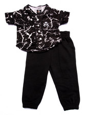 Boys - 2 PC SET - MARBLE BASEBALL WOVEN & JOGGERS (2T-4T)