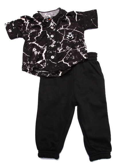 Akademiks - Boys Black 2 Pc Set - Marble Baseball Woven & Joggers (Infant)